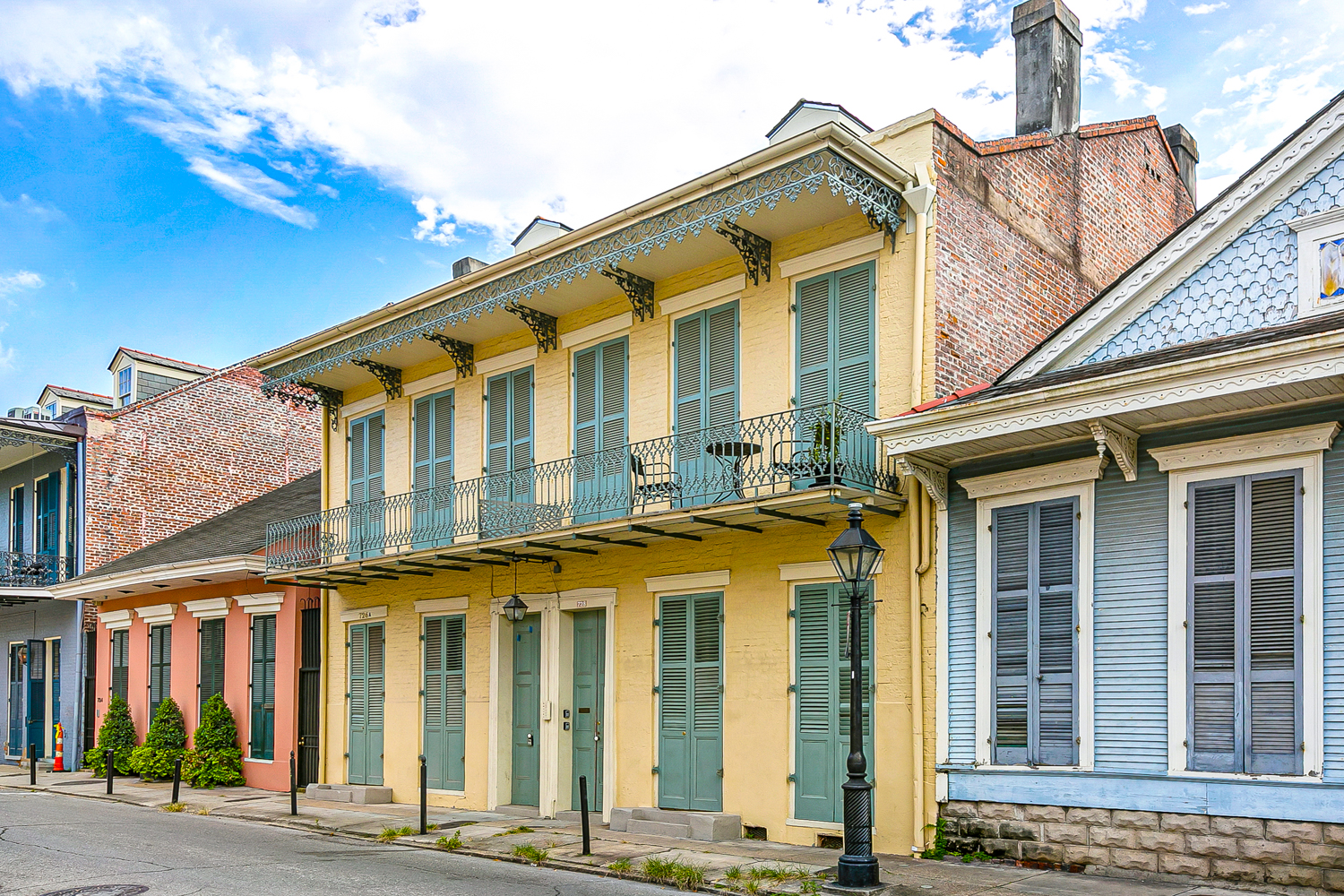 Peaceful Hideaway in the most endearing and charming part of the French Quarter on the residential side!  2 bedrooms but one bedroom is used as an office. The unit is set back about 100 feet from the street and is EXTREMELY quiet. The condo does not share walls with other residences and you feel truly set apart from the hubbub of the Vieux Carre. The unit is a 5-minute walk to Frenchmen Street, the Marigny, hundreds of bars/restaurants and many music clubs.